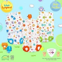 Libby - ECER 1SET Setelan Baju Pendek Newborn (Kancing Depan) - Lion [ECER 1SET]