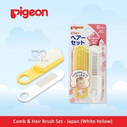Pigeon - Comb and Hair Brush Set - Japan (White-Yellow)