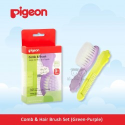 Pigeon - Comb and Hair Brush Set (Green-Purple)